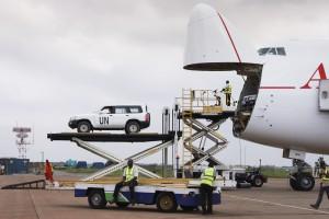UN Vehicles Deployed for Ebola Emergency Response. UN Photo/Ari Gaitanis