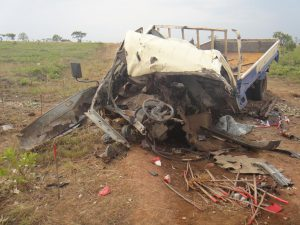 Truck damaged by AVM explosion in Angola. Photo: HALO TRUST